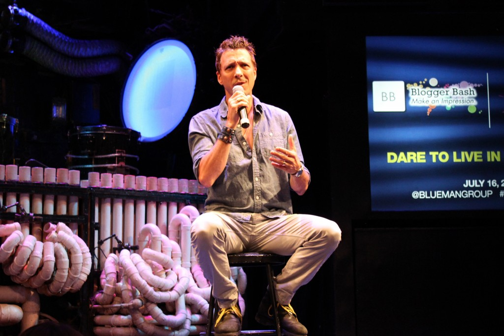 Creative Director Randall Jaynes taking questions at the Blue Man Group Blogger Bash Q&A