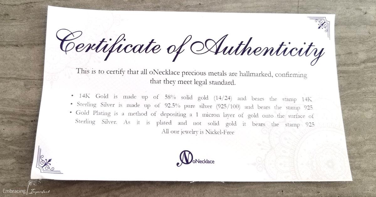 authentic certificate