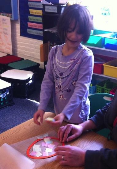 Zoe crafting at school
