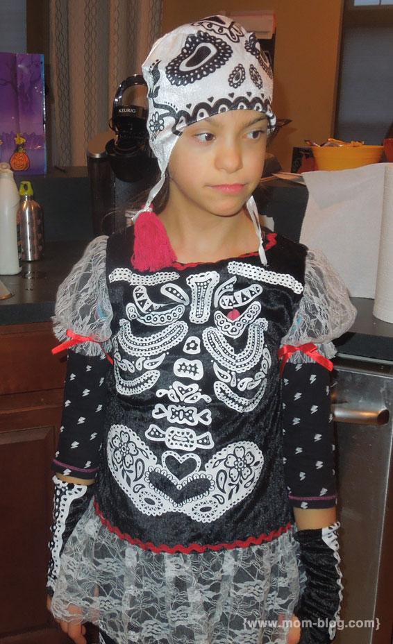 Girl in Skeleton Costume