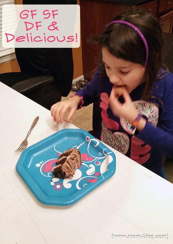 girl eats cake