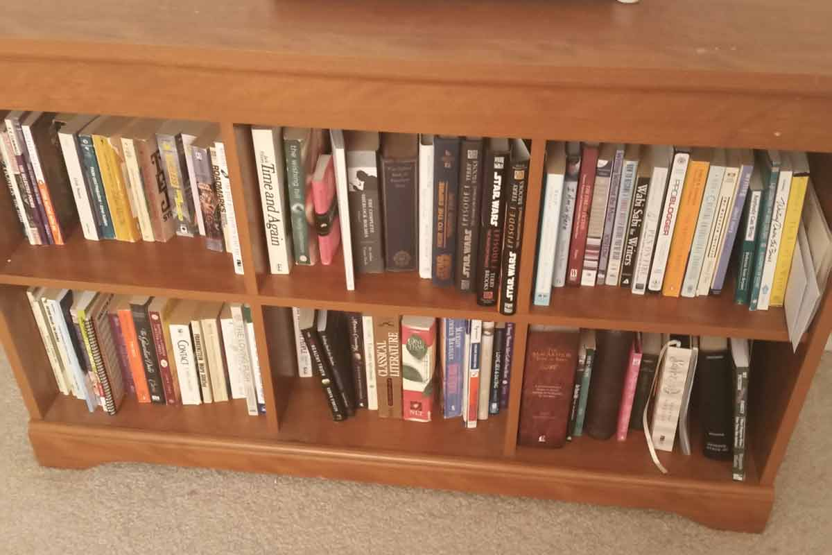 I just cleared out this bookcase. The other half of what was in it waiting for a yard sale...