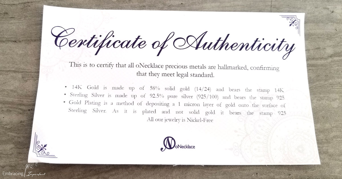 authentic certificate