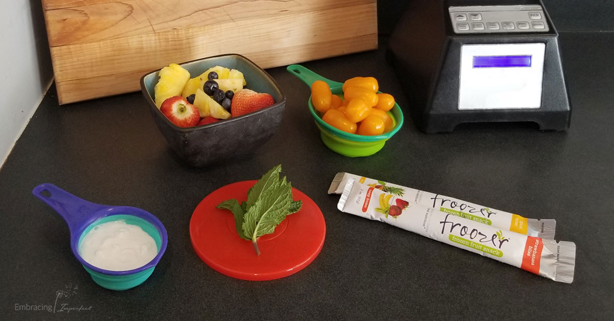 fruity gazpacho ingredients with frozen fruit snacks
